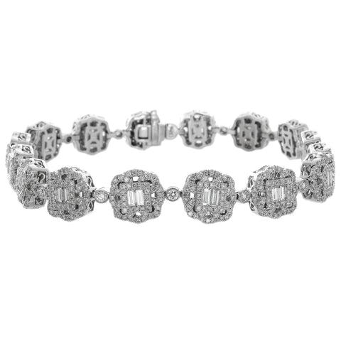 6F056010AWLBD0 18KT White Diamond Bracelet