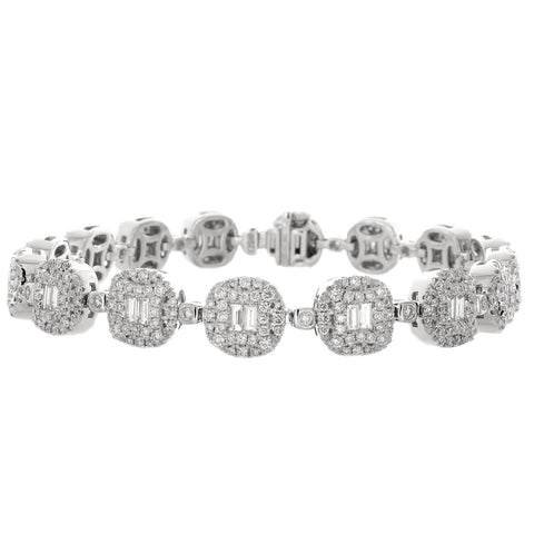6F056014AWLBD0 18KT White Diamond Bracelet