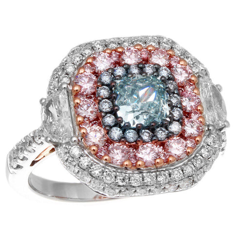 6F607071AQLRGBPD 18KT Pink Diamond Blue Diamond Ring