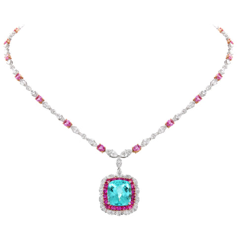 6F608727AQCHPDPSPA 18KT Pink Diamond Pink Sapphire Paraiba Necklace