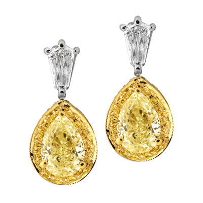 9F0028PUER1.23YD PT Yellow Diamond Earring