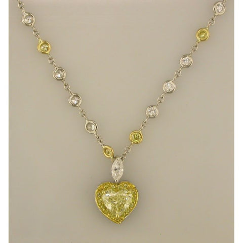 9F0062PUCH1.25YD001 PT Yellow Diamond Necklace