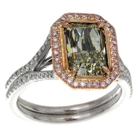 DI05635AQLRGD 18KT Green Diamond Ring