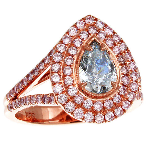 DI06100AQLRBD 18KT Blue Diamond Ring