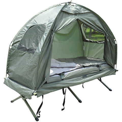 Pop-Up Tent/Camping Cot w/ Air Mattress & Sleeping Bag
