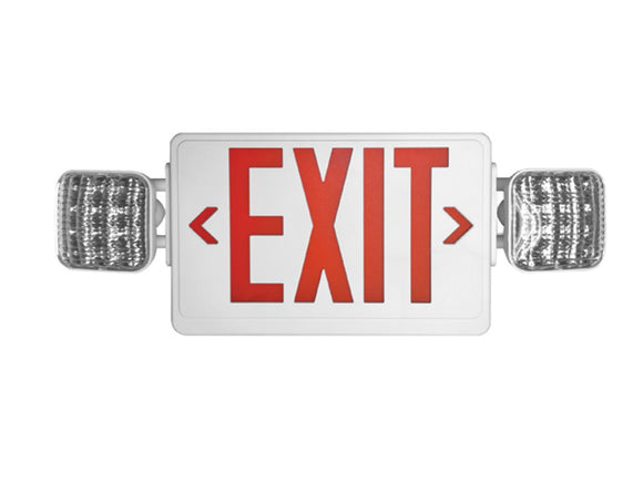 Combo  - LED  -   Emergency Exit / Light  - White Housing - Red Lettering   --