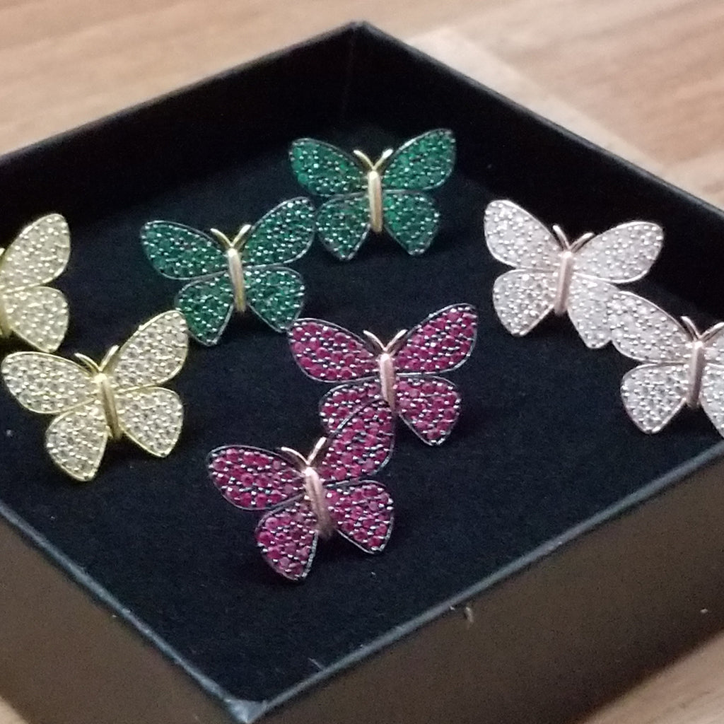 Luxe Pavé Butterfly Stud Earrings