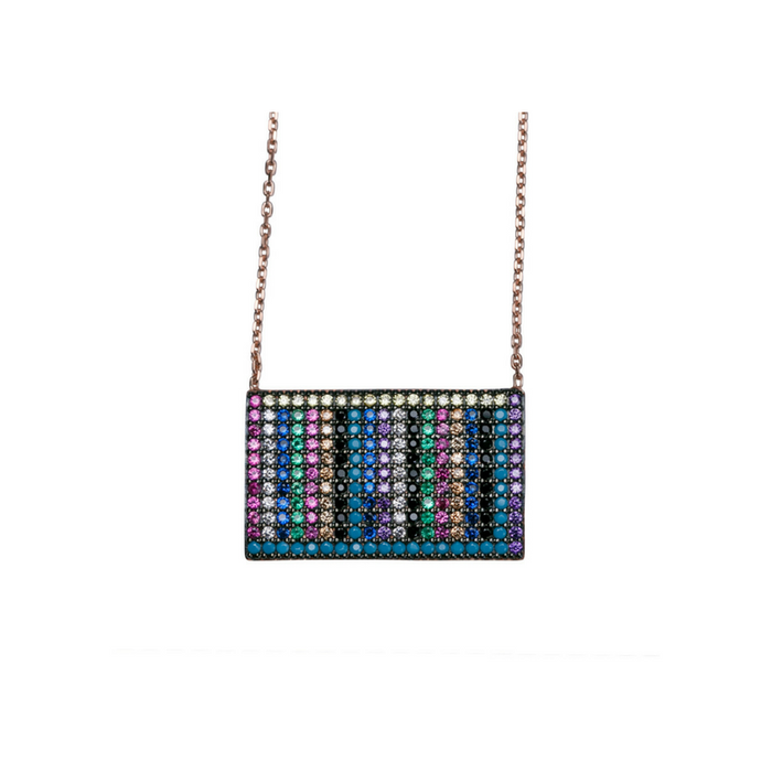 Multi-Colored Rectangle Bar Necklace