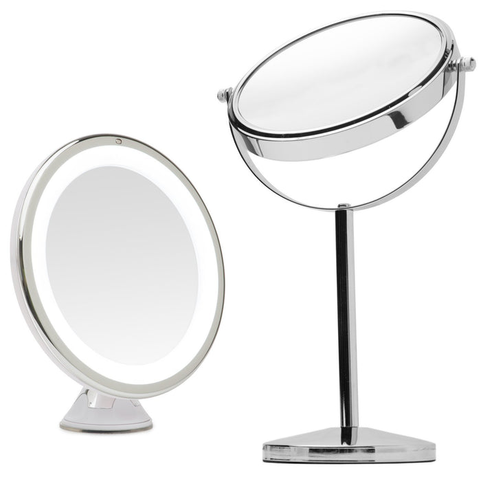 "Mirrorvana 8"" Lighted Make Up Mirror (x5 Magnification with Suction Cup) Bundle with Mirrorvana 7"" Double Sided x1 / x10 Magnifying Cosmetic Mirror (2 Mirrors Total)"