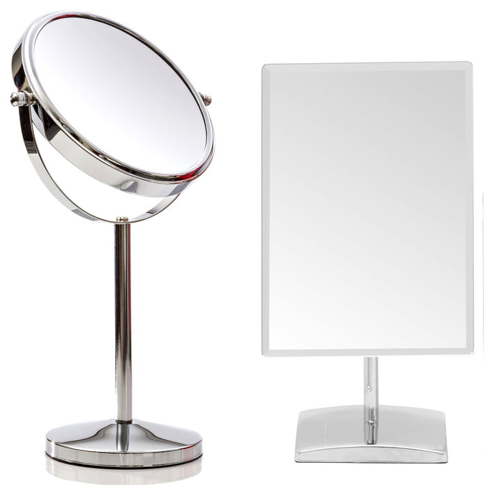 Mirrorvana 7 Inch Make Up Mirror Bundle with Bonus Mirrorvana Rectangular Bathroom Countertop Vanity Mirror