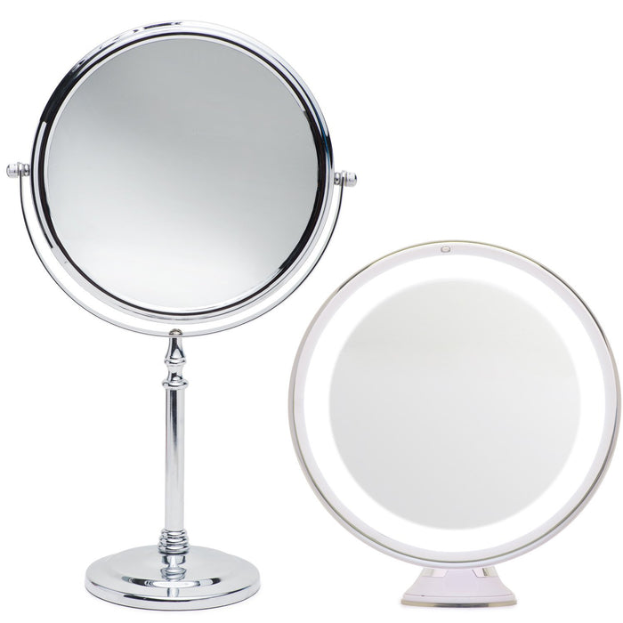 Mirrorvana 5X Magnified Lighted Mirror Bundle with Bonus Mirrorvana Large 8 Inch Makeup Mirror on Pedestal