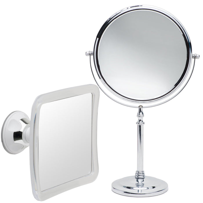 Mirrorvana 8-Inch Double Sided Table Mirror (Dual 1X / 10X Magnification) Bundle With Mirrorvana Fog Resistant Bath / Shower Mirror