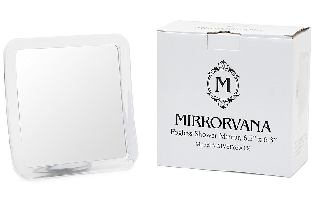 Mirrorvana Fogless Shower Mirror For Shaving with Lock Suction-Cup - 16 x 16cm - Shatterproof and Portable