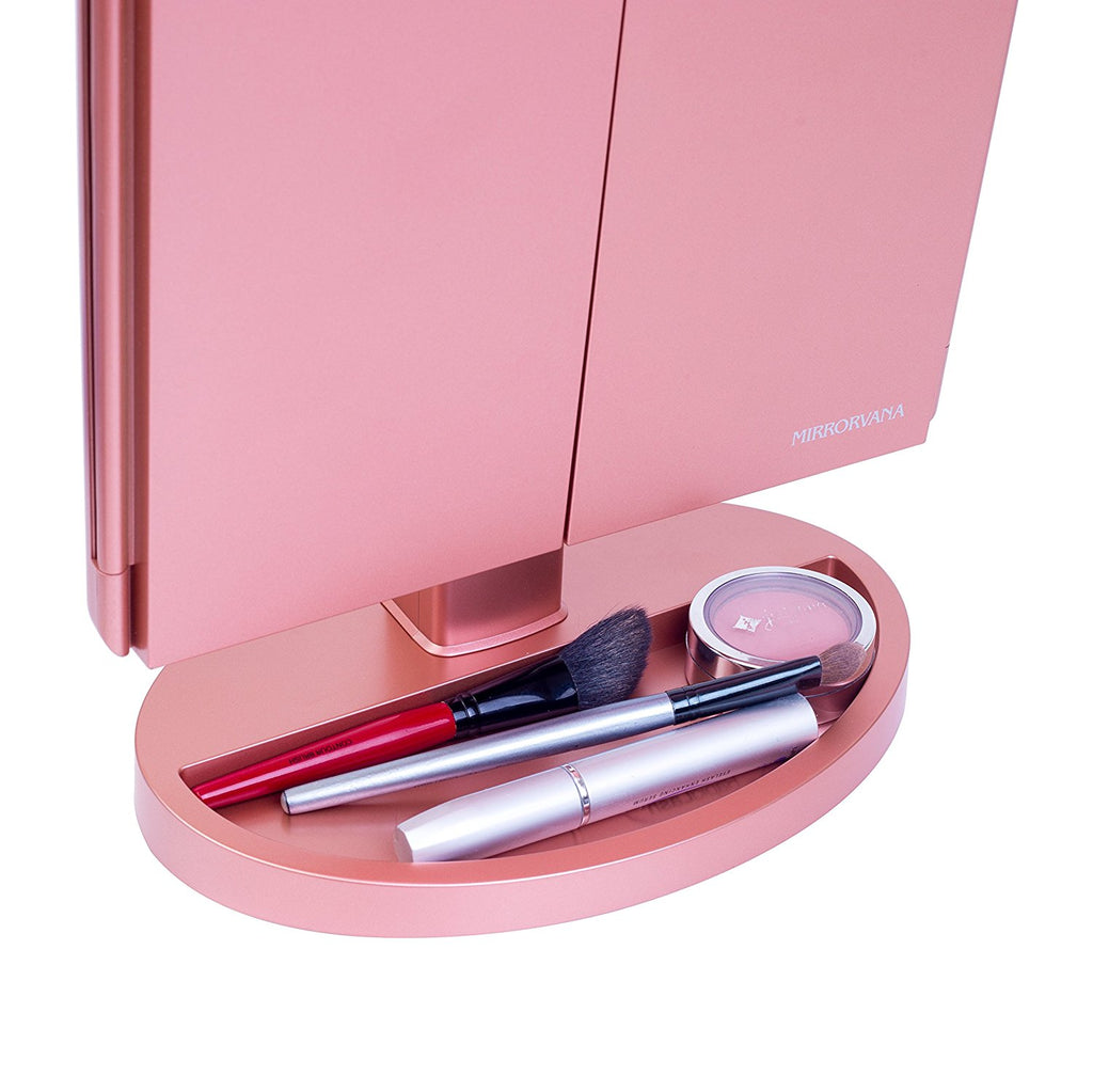 Mirrorvana XLarge Trifold LED Lighted Vanity Makeup Mirror with 1X, 3X, 5X and 10x Magnification in Rose Gold | Includes BONUS 6-ft (2-meter) USB Cable
