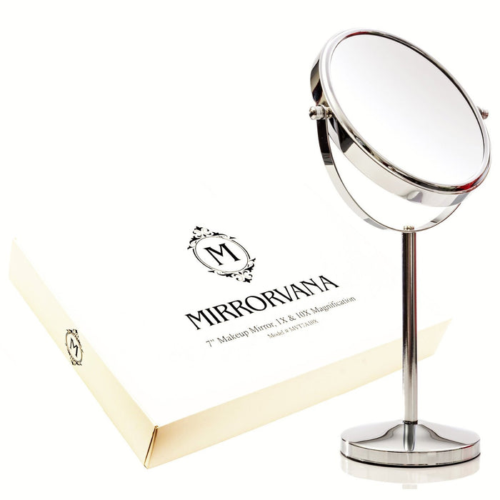 Mirrorvana Double Sided 1X and 10X Magnifying Mirror, Free Standing Vanity Tabletop Mirror For Makeup Application or Face Shaving with Detachable Stand and 360° Rotation, 18 cm diameter