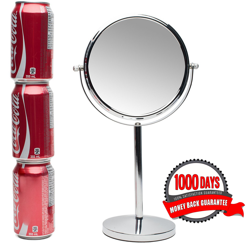 Mirrorvana 7-Inch Vanity Makeup Mirror, Double-Sided, 1X and 10X Magnifying Mirrors
