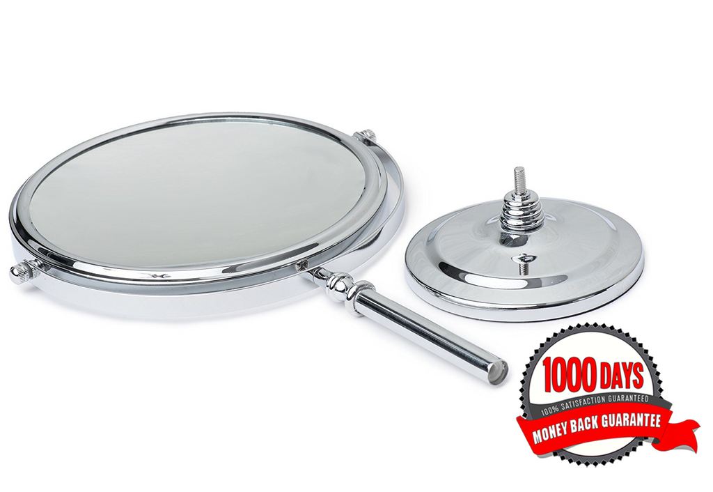 MIRRORVANA Large 8-Inch Magnifying Makeup Mirror ~ Double-Sided Strong 10X and 1X Magnification ~ 15-Inch Height, Chrome Finish