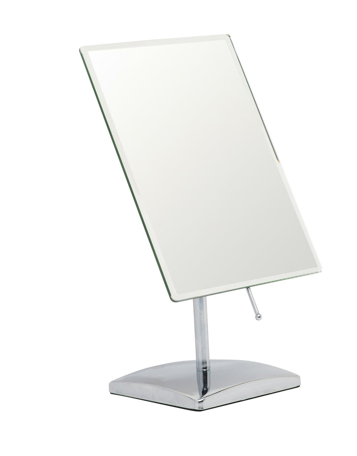 Mirrorvana Free Standing Dressing Table Mirror on Detachable Stand - Angle Adjustable For Flawless Makeup or Shaving - Large 25 x 18cm Rectangular Reflective Area - Chrome
