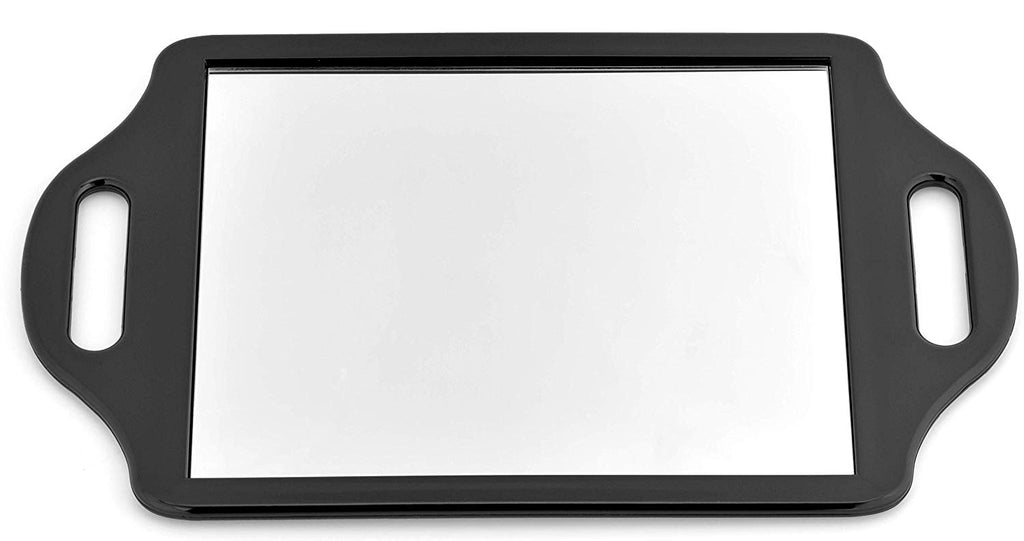 "Mirrorvana X-Large Barber Hand Mirror with Comfy Grip Twin Handles - Black (14"" x 8.5"")"