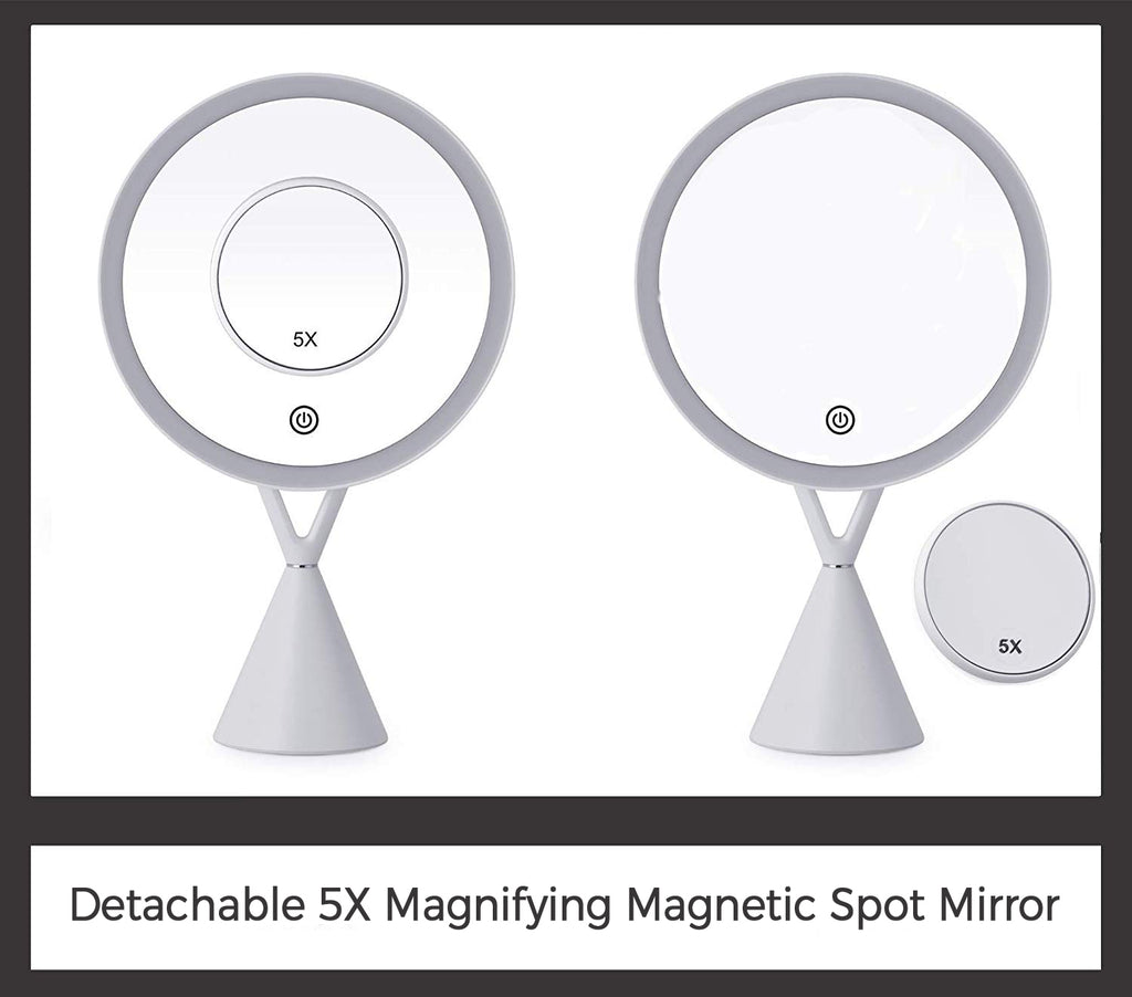 "Mirrorvana Lighted Makeup Mirror with 30 LED Lightbulbs and Detachable 5X Magnifying Spot Mirror, 13"" Height & 7"" Diameter"