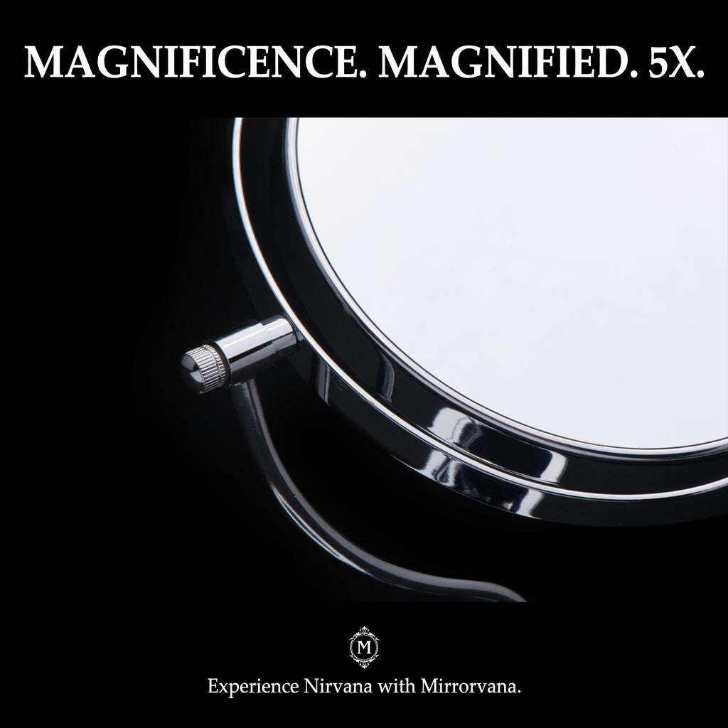 Bright N Curvy Double-Sided Lighted Makeup Mirror w/1x 3x Magnification for Vanity Countertop, 6-Inch
