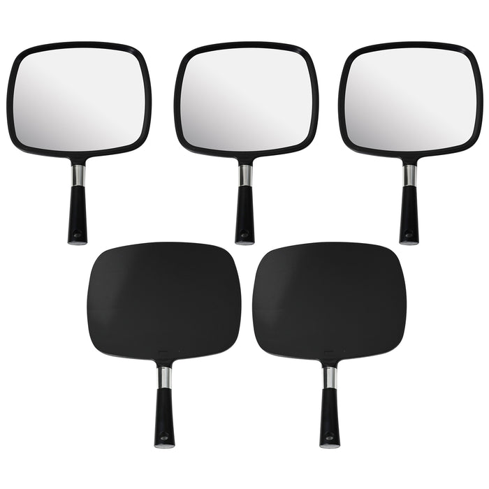 Mirrorvana Large & Comfy Hand Held Mirror (Black), Pack of 5