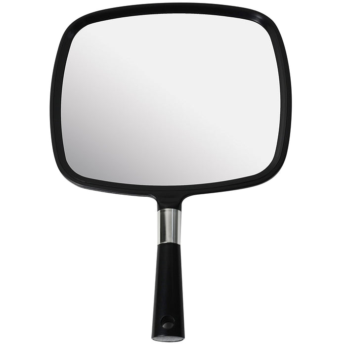 Mirrorvana Large & Comfy Hand Held Mirror with Handle - Barber Model in Black