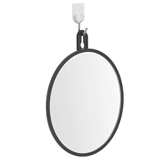 2019 Non- Fogless Hanging Shower Mirror for Shaving with Suction Cups, Hook and Extendable Rope, Portable and Shatterproof, 6 Inches