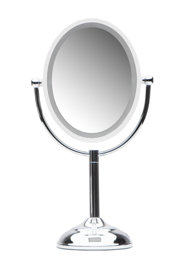 Mirrorvana Oval Sensor Mirror | Motion Sensor-Activated LED Lighted Vanity Makeup Mirror with Dual-Sided 1X and 5X Magnification