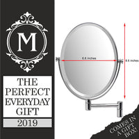 Mirrorvana Oval Wall Mounted Shaving Mirror for Bathroom, Double Sided 5x / 1x Magnifying, 33 cm Extension Swivel, 17 cm x 22 cm Reflection, Chrome