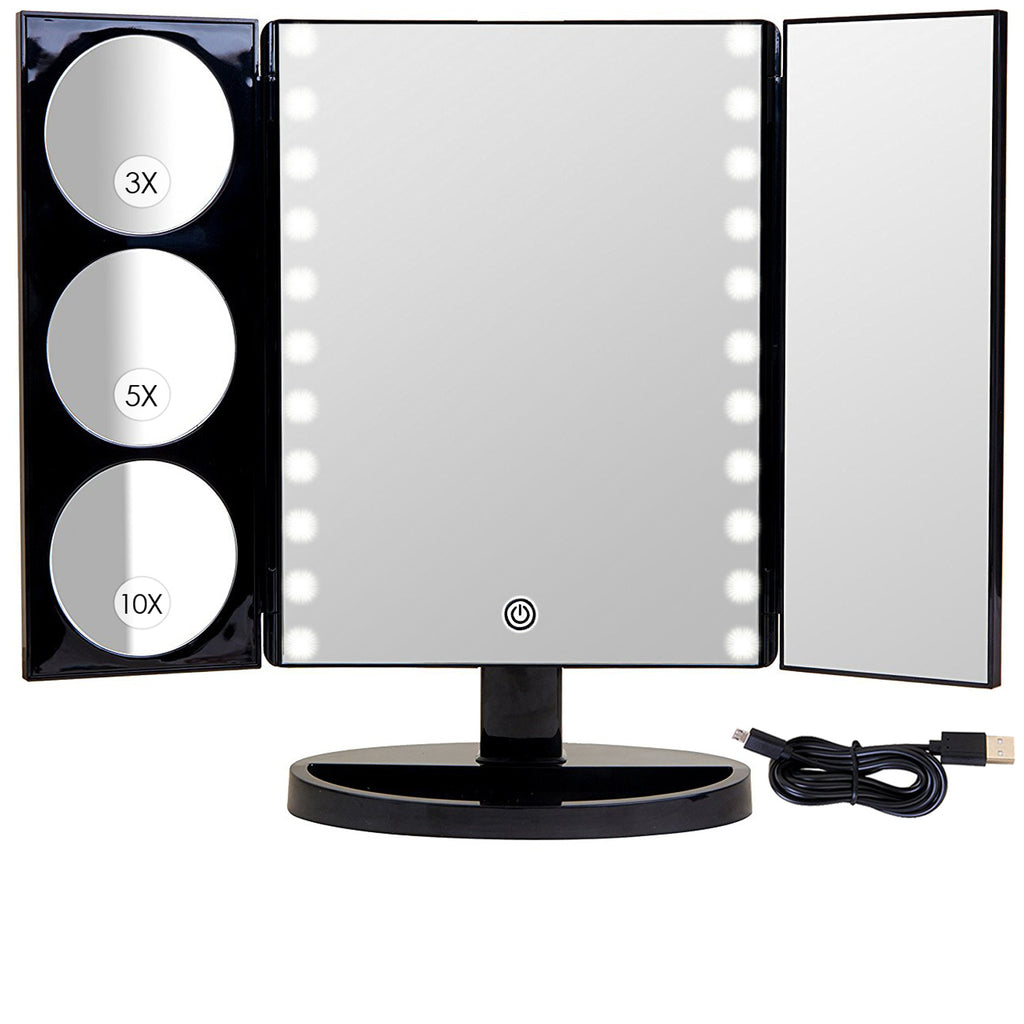 Biggest Hollywood Style Trifold Led Lighted Countertop Mirror Mirrorvana Inc
