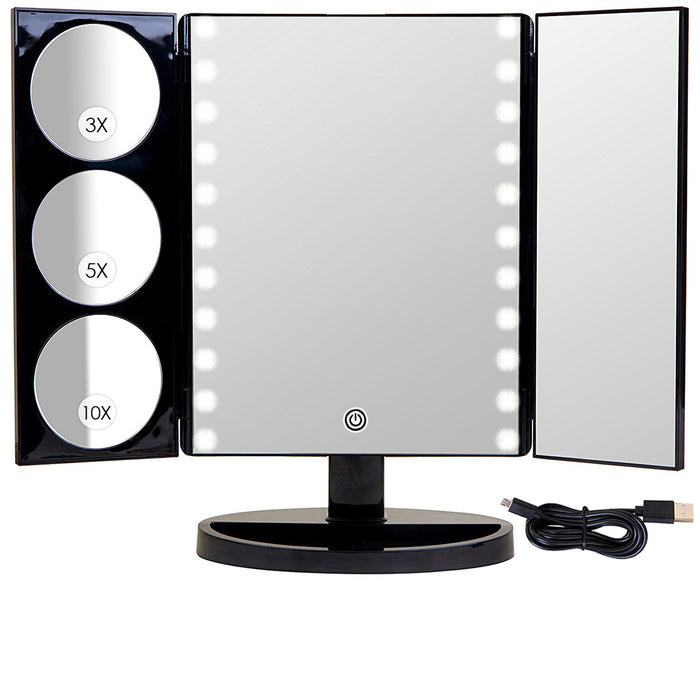 Biggest Hollywood Style Trifold LED Lighted Countertop Mirror (2017 X-Large Model) | Adjustable Cosmetic Vanity Makeup Mirror w/ Brilliant 1x, 3x, 5x & 10x Magnification