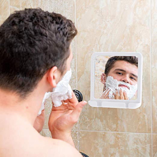 "2019 Fogless Shower Mirror for Fog Free Shaving with Razor Holder and Sticky Suction-Cup, Shatterproof and Portable, 8"" x 7"" (White)"