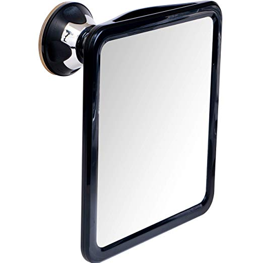 "2019 Shatterproof Fogless Shower Mirror For Fog Free Shaving with Sticky Suction Technology, Portable and Travel Ready, 8"" x 7"""