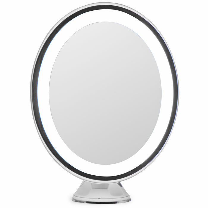 LightLUXE 5X Lighted Magnifying Makeup Mirror w/ Bright LED Lights, 360* Swivel, Locking Suction Cup & Unique Oval Countertop Vanity Design