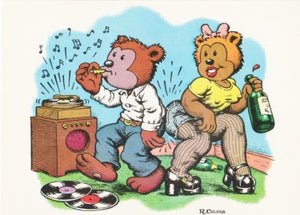 "R. Crumb Greeting Card: ""Arcade Bear Hoedown"""