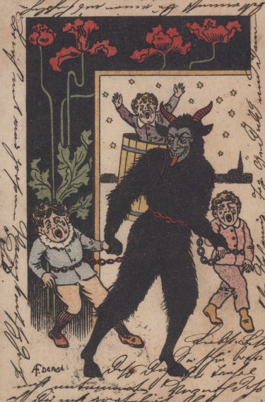 Krampus Card: Decorated With Flowers