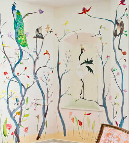 Menagerie Hand-Painted Chinoiserie Wallpaper