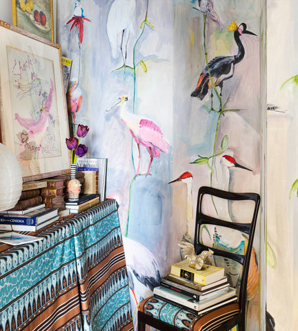 Birds Hand-Painted Wallpaper