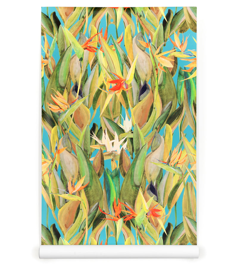 Birds of Paradise on Blue Wallpaper