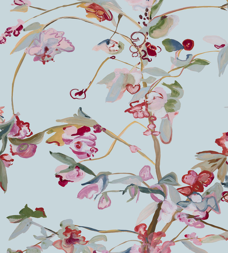Guinevere Mieke Blue Chinoiserie Wallpaper Voutsa