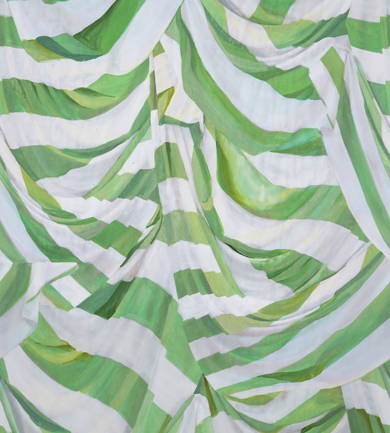 Judy Stripe Green and White Wallpaper