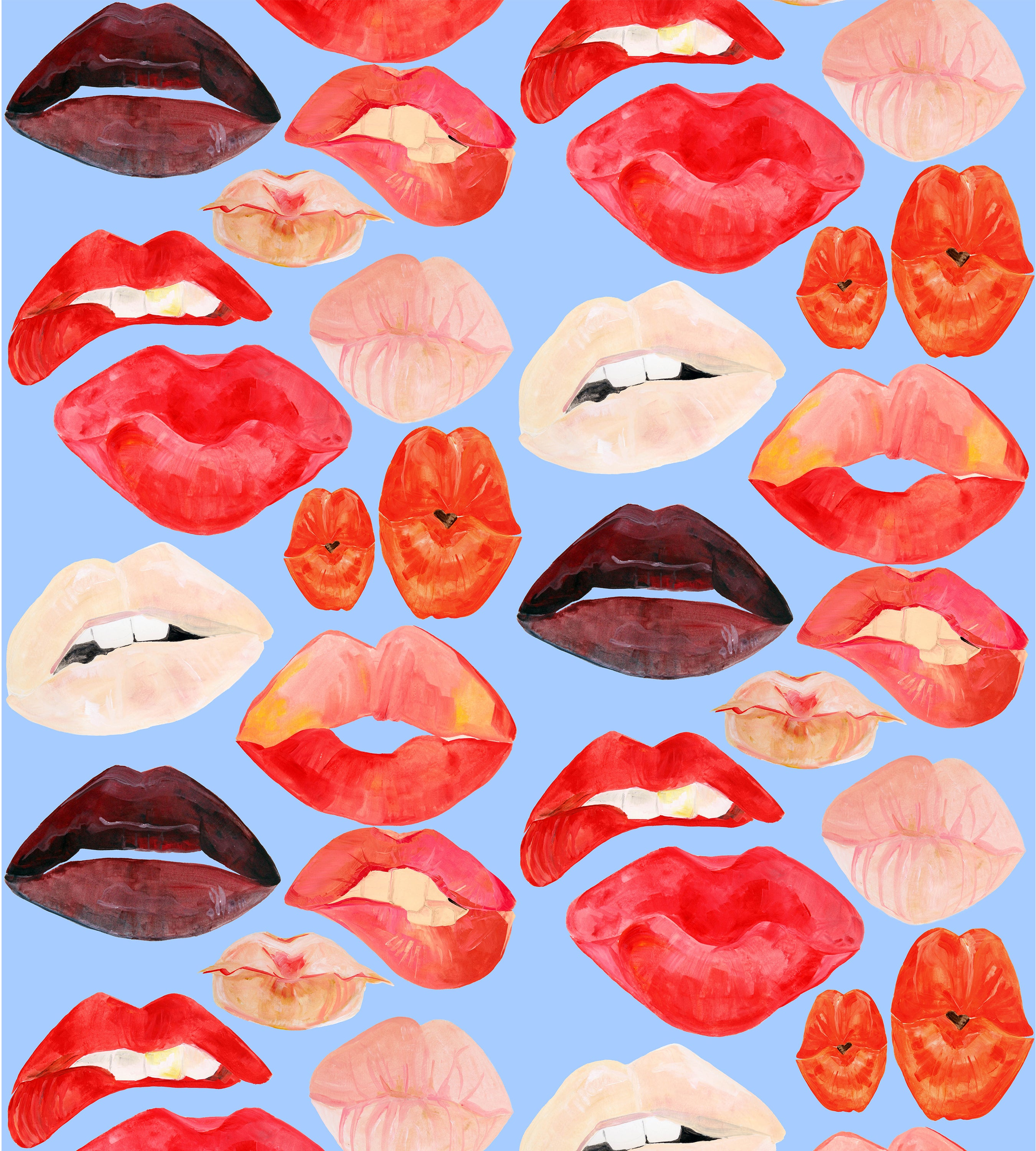 Lips on Blue Wallpaper