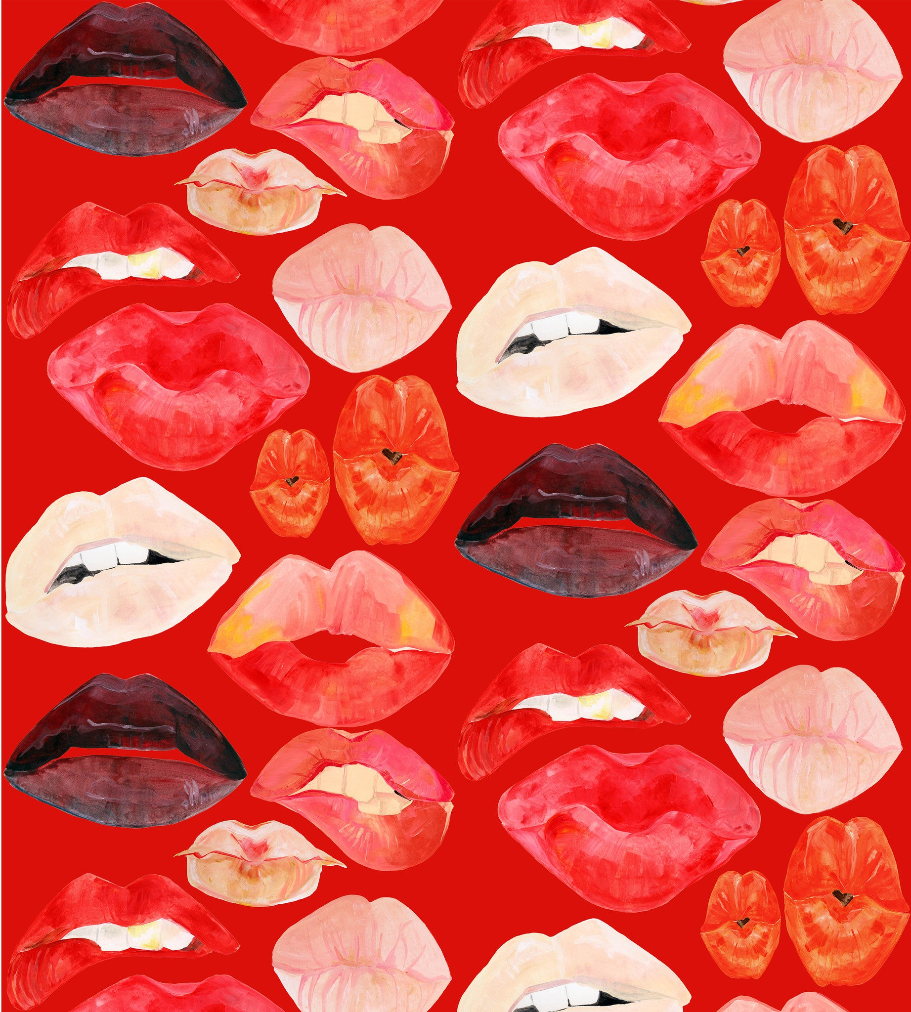 Lips on Red Wallpaper
