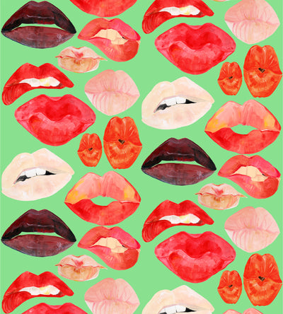Lips on Screen Green Wallpaper