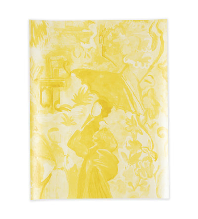 Chinoise Monochrome Yellow on Metallic White Wallpaper
