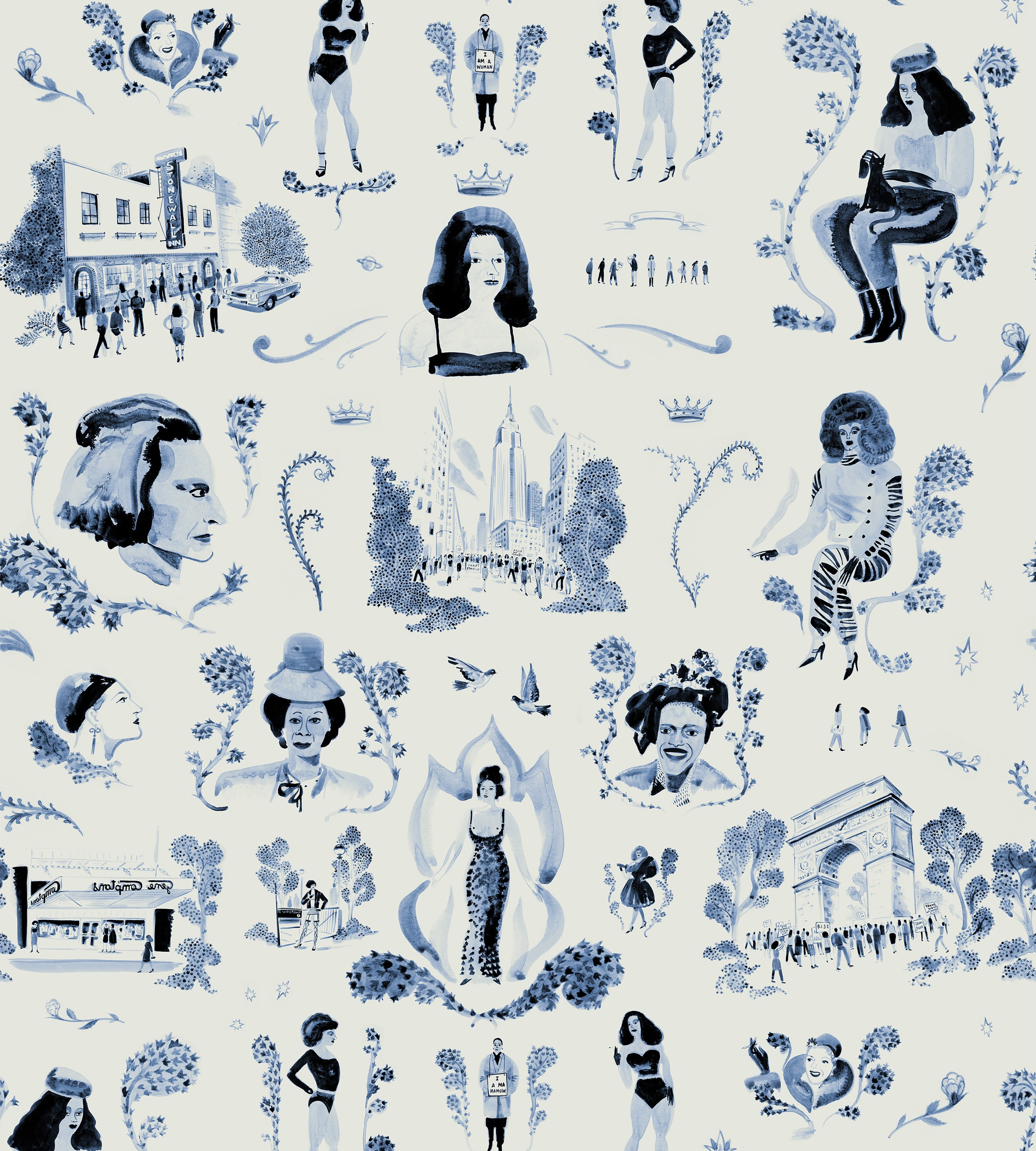Trans Power Toile Blue Wallpaper by Grant Shaffer