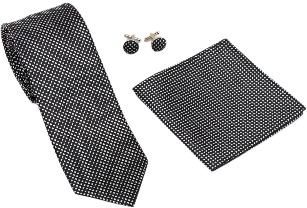 Kingsquare Checkered Silk Tie, Pocket Square, and Cufflinks Set