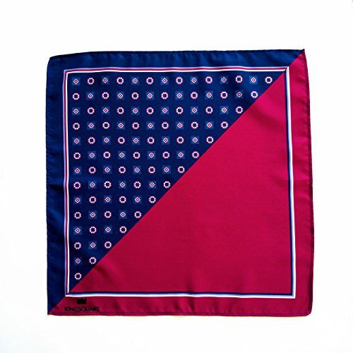 Kingsquare Men's Pocket Square, red/blue tone