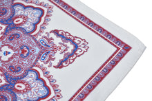 Kingsquare 100% Silk Pocket Square White with Red & Blue Paisley and Gift Box